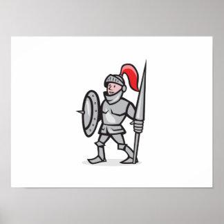 Knight Shield Holding Lance Cartoon Poster