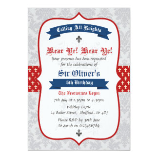 Knight themed birthday party invitation