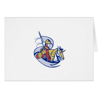 Knight With Flag Shield Horse Retro Card