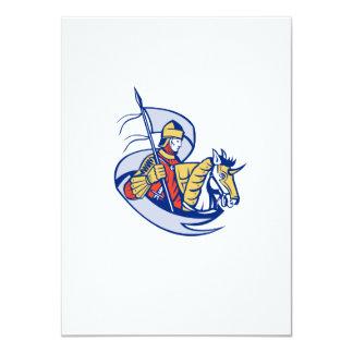 Knight With Flag Shield Horse Retro Custom Invitations