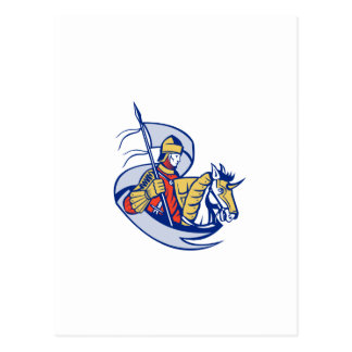 Knight With Flag Shield Horse Retro Postcard