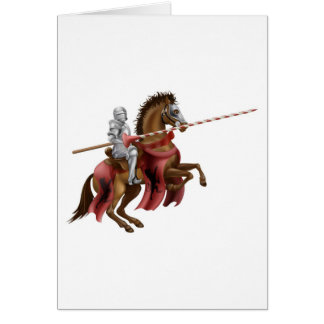 Knight with lance on horse greeting card