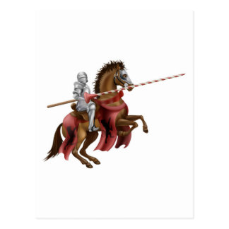 Knight with lance on horse post card