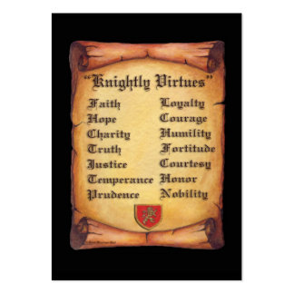 Knightly Virtues Large Business Cards (Pack Of 100)