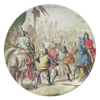 Knights Duelling on Foot in a Tournament, plate 1