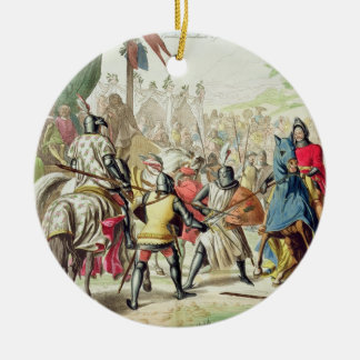 Knights Duelling on Foot in a Tournament, plate 1 Christmas Ornament