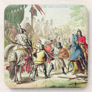 Knights Duelling on Foot in a Tournament, plate 1 Coaster