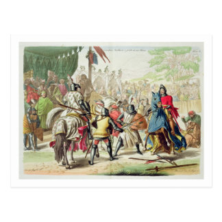 Knights Duelling on Foot in a Tournament, plate 1 Postcard