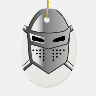 Knight's helmet and Crossed swords Vector Ceramic Oval Decoration