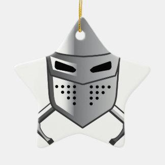 Knight's helmet and Crossed swords Vector Ceramic Star Decoration