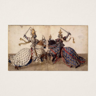 Knights jousting business card