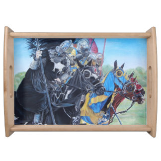 knights jousting on horses historic art food trays