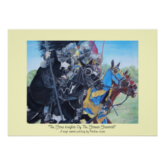 knights jousting on horses historic art poster