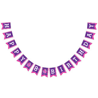 Knights medieval Happy Birthday girls bunting flag