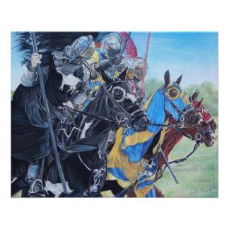 Knights on horses historic realist art