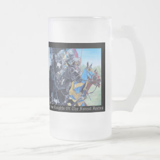 Knights on horses historic realist art frosted glass mug