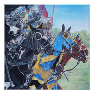 Knights on horses historic realist art perfect poster