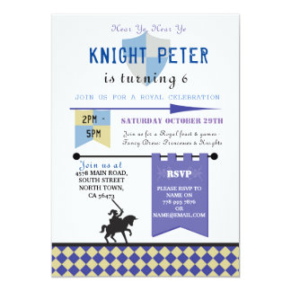 Knights Princess Knight Birthday Party Invite