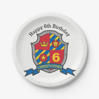 Knights shield 6th birthday party custom plate