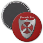 Knights Templar Cross and Shield 7.5 Cm Round Magnet