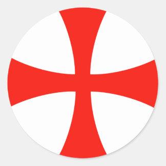 Knights_Templar_Cross Classic Round Sticker