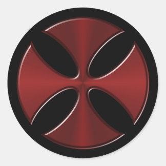 Knights Templar Cross Round Sticker