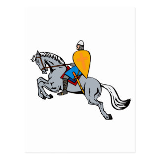 knights templar riding horse sword and shield postcard