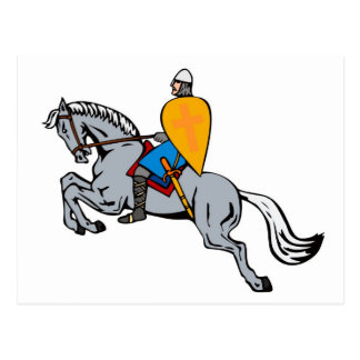 knights templar riding horse sword and shield post cards