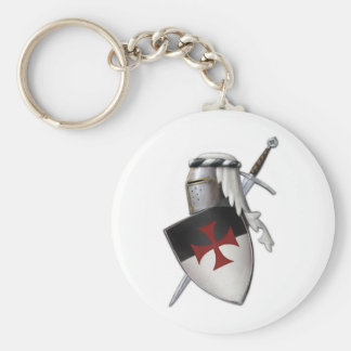Knights Templar shield Basic Round Button Key Ring