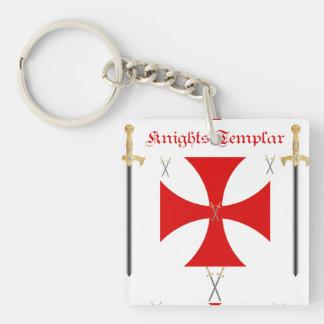 Knights Templar Single-Sided Square Acrylic Key Ring