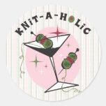 Knit-A-Holic Round Stickers