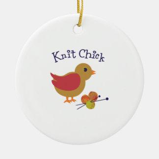 Knit Chick Round Ceramic Decoration