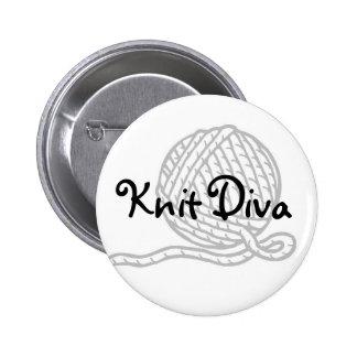 Knit Diva 6 Cm Round Badge
