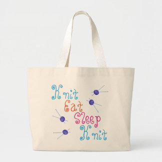Knit Eat Sleep Knit with yarn and knitting needles Large Tote Bag