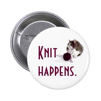 Knit happens 6 cm round badge