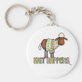 knit happens basic round button key ring