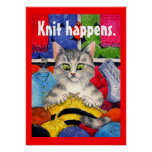Knit happens cute cat knitting poster
