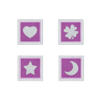 Knit Icons; Heart, Star, Moon, Shamrock on Orchid Stone Magnet