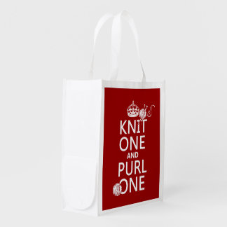 Knit One and Purl One (keep calm-all colors) Grocery Bags