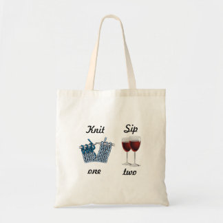 Knit one, sip two tote bag