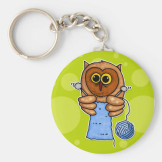 knit owl key ring