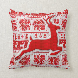 Knit Patterned Snowflake and Reindeer Holiday Cushion