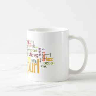 Knit Purl Knitting Lexicon for Knitters Basic White Mug