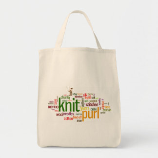 Knit Purl Knitting Lexicon for Knitters Grocery Tote Bag