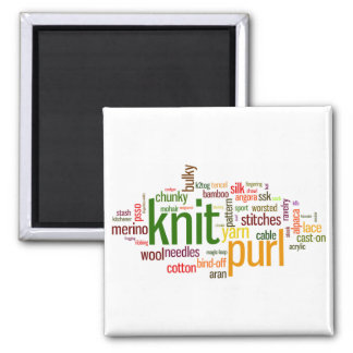 Knit Purl Knitting Lexicon for Knitters Square Magnet