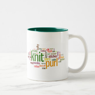 Knit Purl Knitting Lexicon for Knitters Two-Tone Mug