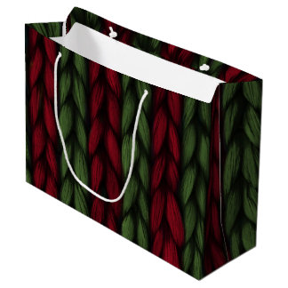 Knit Red and Green Christmas Large Gift Bag