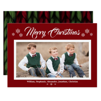 Knit Red Green Photo Merry Christmas Snowflakes Card