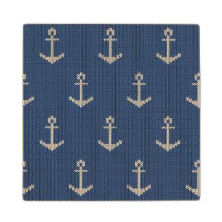 Knit Sea Anchor Maple Wood Coaster