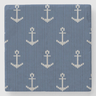 Knit Sea Anchor Stone Beverage Coaster